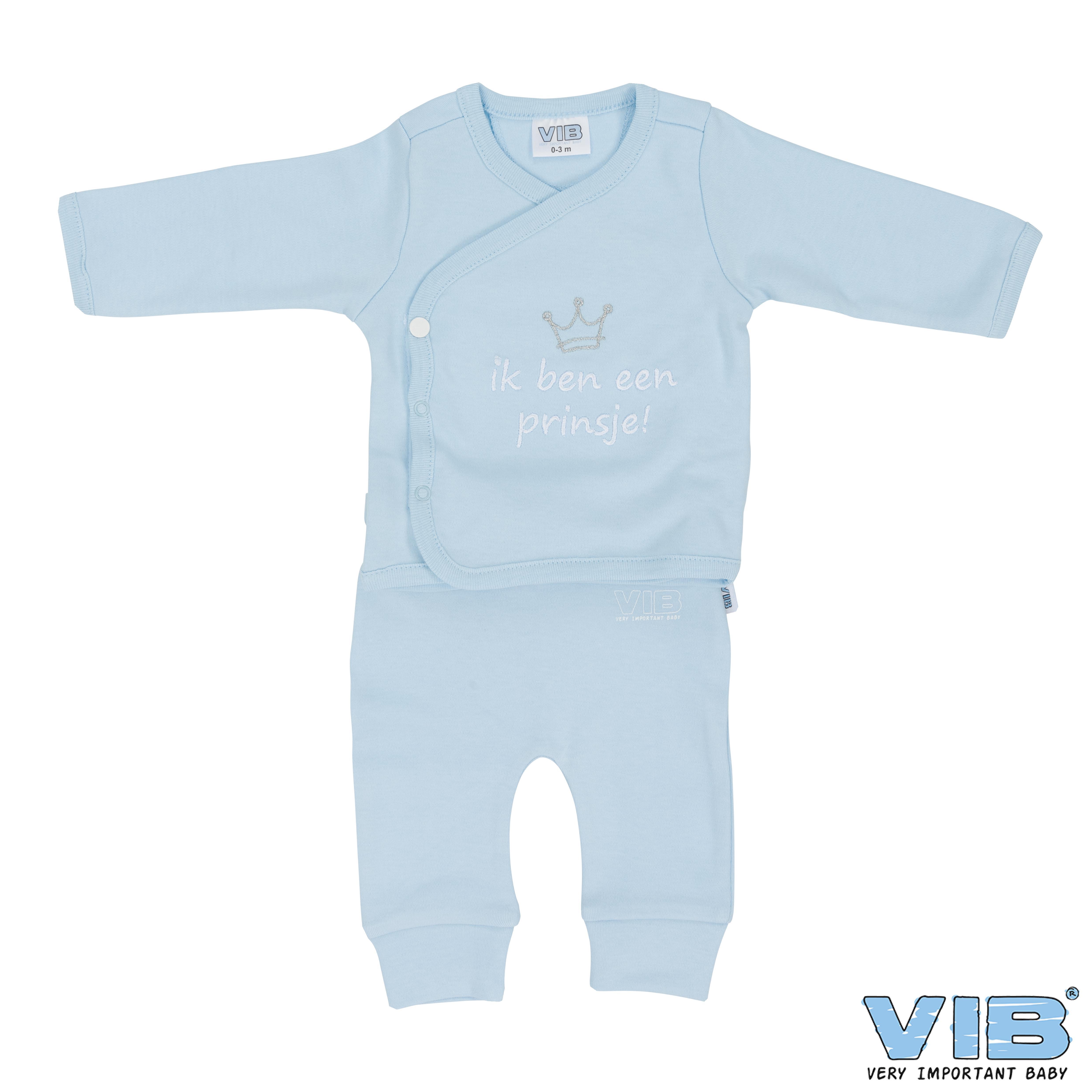 2-Delig Setje Broek+T-Shirt Blauw 'Ik ben een prinsje' 0-3 Maanden