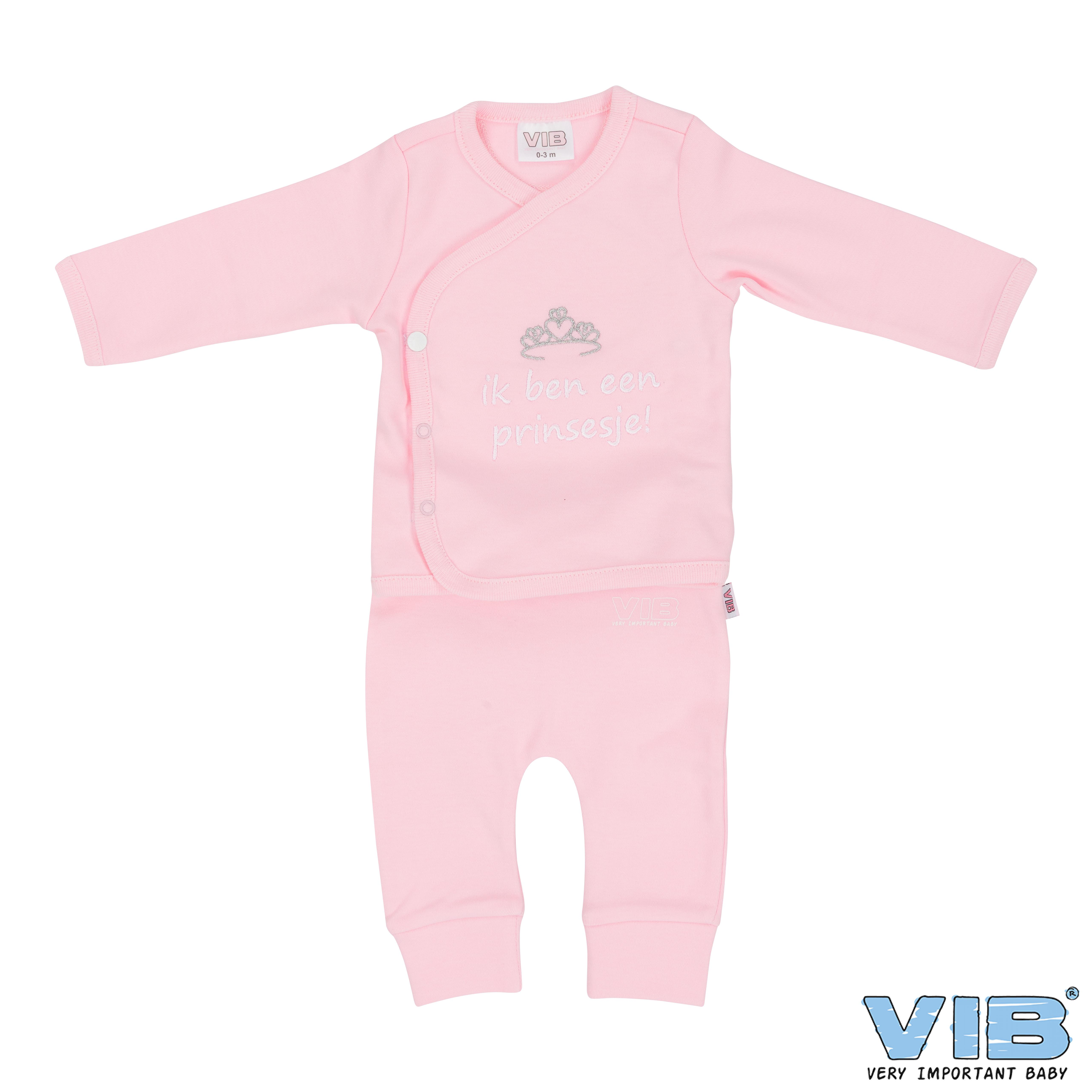 2-Delig Setje Broek+T-Shirt Roze 'Ik ben een prinsesje' 0-3 Maanden