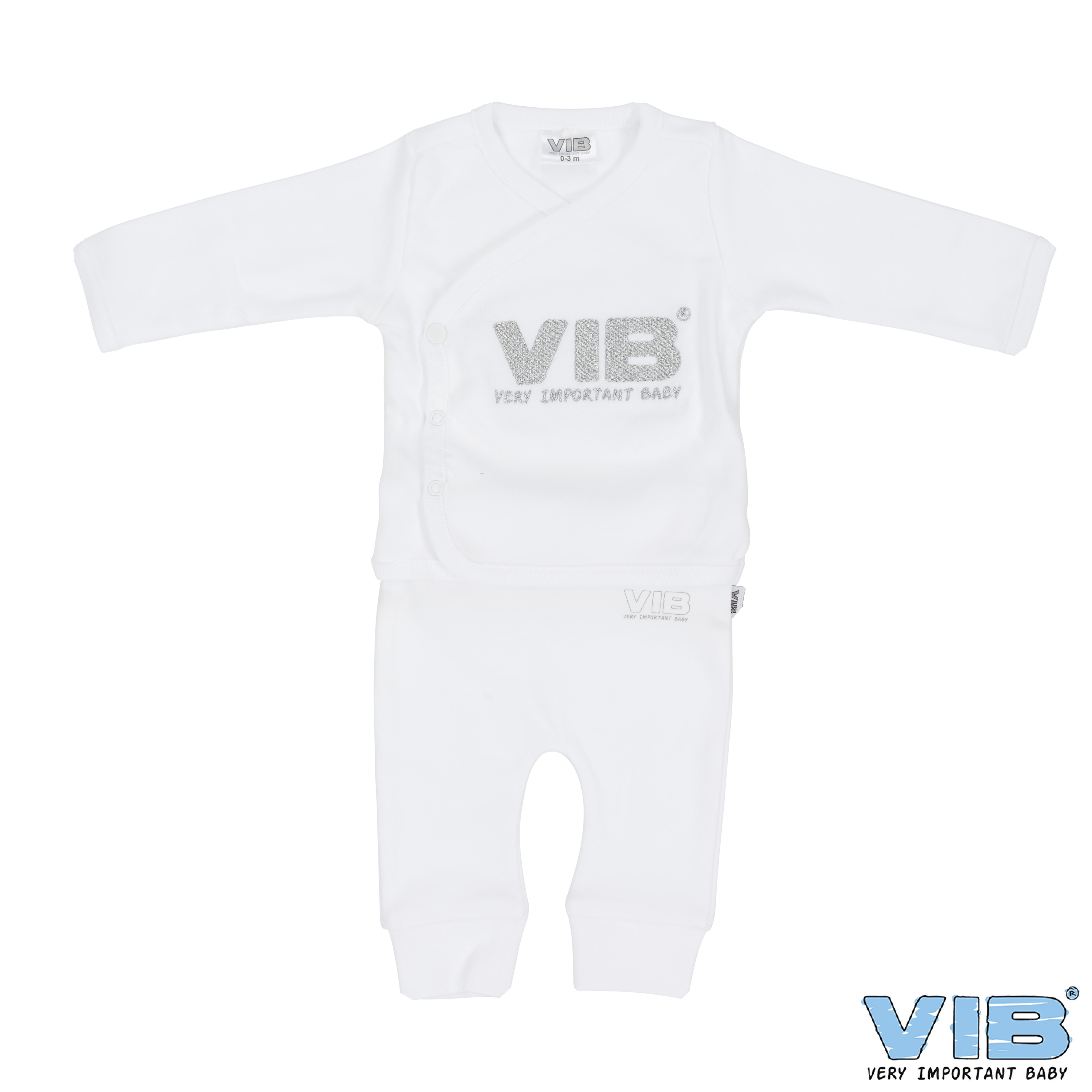 2-Delig Setje Broek+T-Shirt Wit 'Very Important Baby' 0-3 Maanden