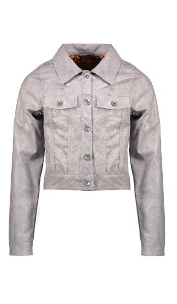 Deno fake leather denim style cardigan