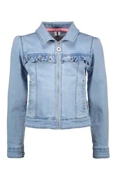 Girls denim jacket with puff shoulder / ruffle with eyelets on CF