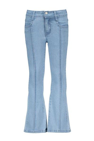 Girls denim flair pants, ruffles at front pockets