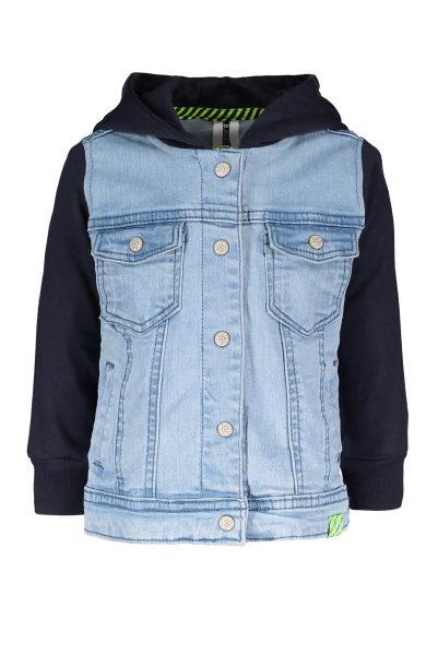 Baby boys denim jacket with sweat sleeves and hood