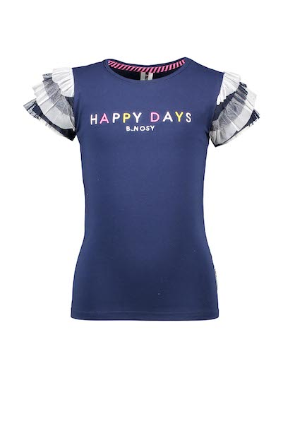 Girls t-shirt with layered ruffle detail at sleeve